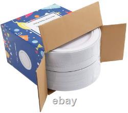 Bucla 100pièces Argent Plaques En Plastique-10.25inch Argent Rim Dîner Jetable Pour