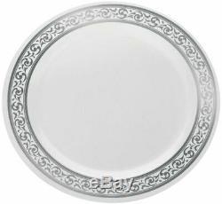 Decorline 7 Blanc Avec Argent En Plastique Rimmed Salade Plaque De 120 Cas