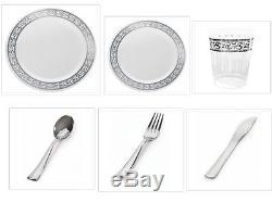 Decorline Chine Assiettes En Plastique Blanc Avec De La Jante En Argent Couverts De Tasses De Réception De Mariage