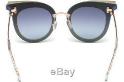Emilio Pucci Ep 104 Blue Gold Lentille 92w Lunettes De Soleil Cat Eye Cadre 66-15-140 Ep0104