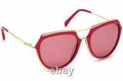 Emilio Pucci Ep 16 75y Pink Gold Plastic Aviator Lunettes De Soleil 56-18-135 Ep0016