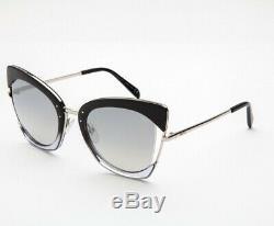 Emilio Pucci Ep 74 Black Silver 05c Lunettes De Soleil Cat Eye Cadre 55-23-135 Ep0074