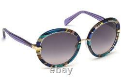 Emilio Pucci Ep12 92b Purple Multi Color Round Sunglasses Cadre 57-19-135 Ep0012