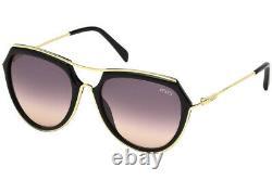 Emilio Pucci Ep16 01b Large Black Gold Aviator Lunettes De Soleil Cadre 56-18-135 Ep0016