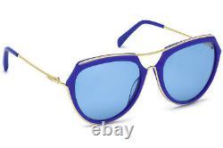 Emilio Pucci Ep16 90v Blue Plastic Aviator Lunettes De Soleil Cadre 56-18-135 Ep0016