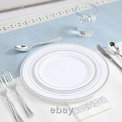 Ensemble De Vaisselle En Argent De 350 Pièces Guest-100 Rim Plaques En Plastique-50 Argenterie-50