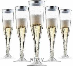 Flûtes À Champagne En Plastique Jetables Avec Boîte De Jante Argentée De 36 6,5 Oz Pack De 6