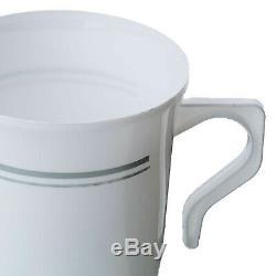 Jante Argentée En Plastique Sur La Vaisselle Jetable Blanche Épaisse De Mariage De Partie De Cups