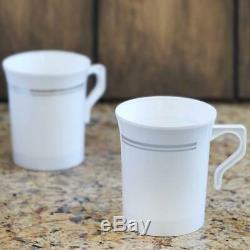 Jante Argentée En Plastique Sur La Vaisselle Jetable Blanche Épaisse De Partie De Mariage De Cups