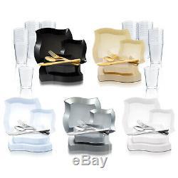 Jetable En Plastique De Vaisselle Party Colis Standard Rim Forme Incurvée Plaques