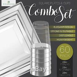 Jetable Vaisselle Pack 60 20 Chacun, 10 Et 7 Rim Argent Avec Coupes