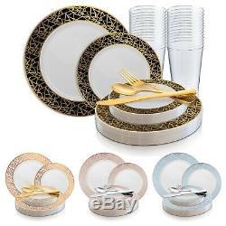 Jetables En Plastique De Vaisselle De Soirée De Mariage Élégant Emballage Plaques Mosaïque