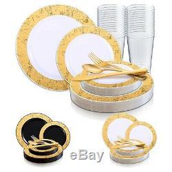 Jetables En Plastique De Vaisselle De Soirée De Mariage Forfait Or Marbre Plaques Rim