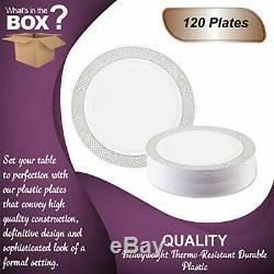 Jetables Plaques Élégantes En Plastique 10.25 Dîner Blanc Avec Argent Diamant Rim