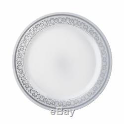 Jeté Jetable De Restauration De Partie De Mariage Argentée Blanche En Plastique De Jante D'argent 7,5 Plaques