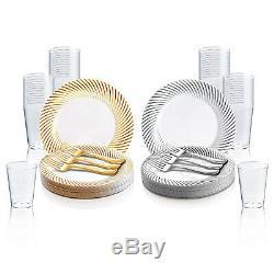 Le Paquet En Plastique Jetable De Partie De Buffet De Mariage De Vaisselle De Plat Tourbillonne Des Plats De Dîner