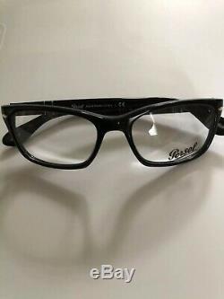 Lunettes De Vue Persol Hommes 3012 V 95 Noir Argent Cadre Optique Jante Complète 54mm Neuf