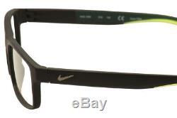 Lunettes Nike 7090 010 Matte Noir / Vert / Argent Cerclée Cadre Optique De 53mm