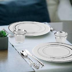 Majestueux Elegance Designs 200 Pièces Plaque Blanche Et Argent En Plastique Set Rimmed