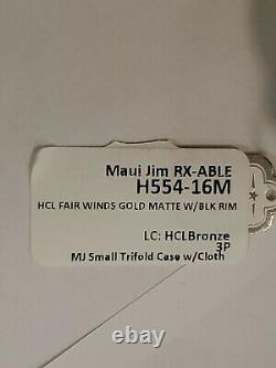 Maui Jim H554-16m Fair Winds Gold Matte Withblk Rim Polarisé Nouveau Dans La Boîte