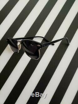 Mens Vintage 50 Black & Argent Demi Rim Lunettes 1950 Frame 1950 Rare