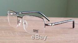 Mont Blanc Mb528u 006 Monture De Demi-lunette De Lunettes Vieux Argent & Noir Neuf Avec Étui