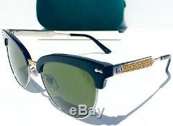 Nouveau Gucci Gg0055s Black Gold Club De Magistral Half Rim Cat Eye Lunettes De Soleil Pour Femmes
