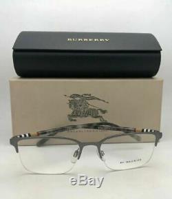 Nouveau Lunettes Burberry B 1323 1014 54-18 Demi Jante Argent Mat Avec Motif Carreaux