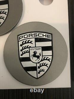 Oem Porsche 911 Caps Wheel Rim Center, Noir Sur Argent, Jamais Utilisé