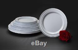 Parti Essentials N742160 Divine Blanc Plaques En Plastique Avec De L'argent Rim, 7.5 Pack