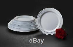 Party Essentials N367359 Assiettes En Plastique Blanches Avec Bordure En Argent, 10,25, Blanches