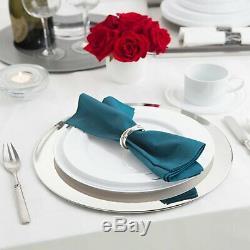 Party Essentials N367359 Divine Plaques En Plastique Avec Bordure Argentée, 10,25, Blanc Wi