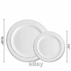Party Set Vaisselle Jetable En Plastique Vaisselle 100 Personnes, Rim Argent 700 Pcs