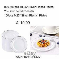 Plaques-10.25inch Argent Argent 100pieces En Plastique À Usage Unique Rim Dinner Plates-i