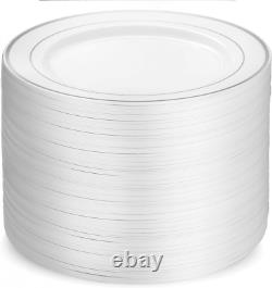 Plaques De Fête En Plastique De 100 Pièces Rim En Argent Blanc, Rim Lourd Premium