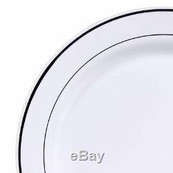Plaques En Plastique Jetables Et Argenterie Bord Blanc Argent Anniversaire Du Parti