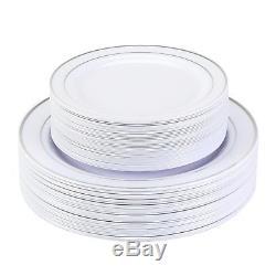 Plaques Jetables En Plastique De Qualité Supérieure En Vrac En Argent Blanc