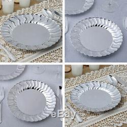 Plaques Rondes En Plastique Argenté Avec Vaisselle Jetable De Mariage De Partie De Bord Évasée