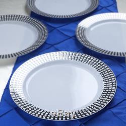 Plastique Argent Avec Gold Rimmed Rond 10 Plaques Jetable Vaisselle Partie Vente