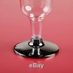 Plastique Argent Bordé Clear Tall Champagne Glasses Cups Jetable Vaisselle De Table