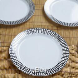 Plastique Argent Et Or Rimmed Rondes 7.5 Plates À Usage Unique Tableware Mariage