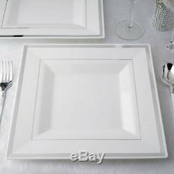 Plastique Blanc 10,75 Plaques Carrées Avec Argent Jante Jetable Mariage Tableware