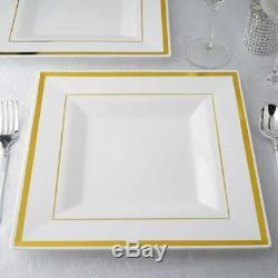 Plastique Blanc 10,75 Plaques Carrées Avec De L'or Rim Jetable Mariage Tableware