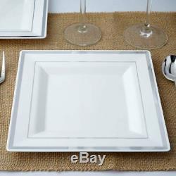 Plastique Blanc 8 Assiettes Carrées Avec Jante Argentée Vente De Vente De Table