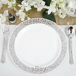 Plastique Blanc Argent Jante 10,25 Plaques Jetable Fête D'anniversaire De Mariage