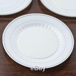 Plastique Blanc Argent Jante 10,25 Plaques Jetables Dîner De Mariage Partie Buffet