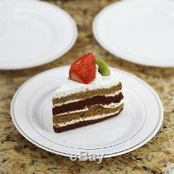 Plastique Blanc Argenté Jante 7.5 Plaques Jetables Partie Wedding Catering Vente