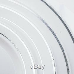 Plastique Blanc Avec Bordure En Argent 6 Plaques Jetable Mariage
