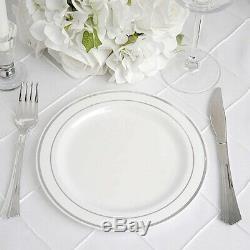 Plastique Blanc Avec Bordure En Argent 8 Plaques Jetable Fête Mariage Vente En Gros