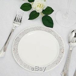 Plastique Blanc Avec Jante En Argent 6.25 Plaques Jetables Fête De Mariage En Gros